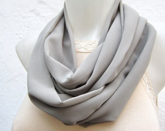 Grey infinity Scarf, Circle Scarves, Loop Necklace, Neckwarmer, Women, Chiffon Tube accessories