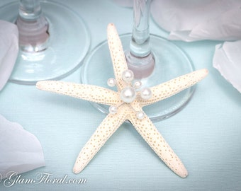 Natural Starfish Fascinator, cream white, light ivory, Wire wrapped with Pearls or AB glass crystals-  Pencil Starfish, Beach Wedding
