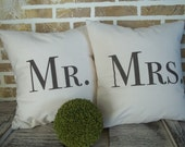 Mr. and Mrs. -  Wedding - Bridal Shower - Washed Cotton Canvas Pillow