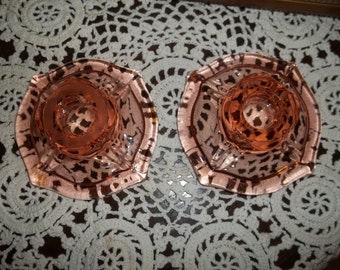 Vintage Pink Candle Holders