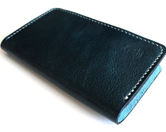 Hand stitched iPHONE Wallet with a Silicone Case in DEEP INDIGO (Free Personalization)