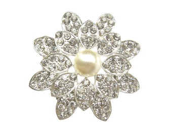 2 Pearl Crystal Rhinestone Brooch - Wedding Cake Decoration Brooch Bouquet Hair Accessories BRO-032 (45mm  or 1.8inch)