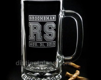 Gifts for Best Man - TWO-INITIAL JERSEY Wedding Beer Mugs - Groomsman Beer Mug Etched Sports Beer Mugs Distinct Glass Studio Ships to Canada