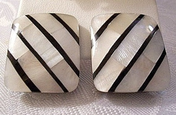 Mother Of Pearl Shell Clip On Earrings Silver Tone Vintage Square Black White Striped