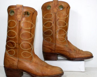 Vintage brown tan low heel cowboy marble mid calf womens Leather fashion boots western womens 6 B M