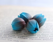 Turquoise beads, polymer clay tulip beads, Tulip beads, Flower beads, focal beads, statement beads blue and chockolate brown- 4 pcs