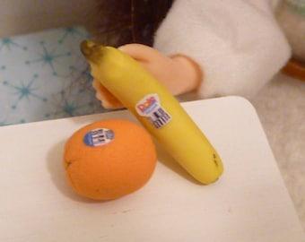 Miniature Dollhouse Banana and Orange for Blythe, Barbie, Pullip, BJD 1:6 scale