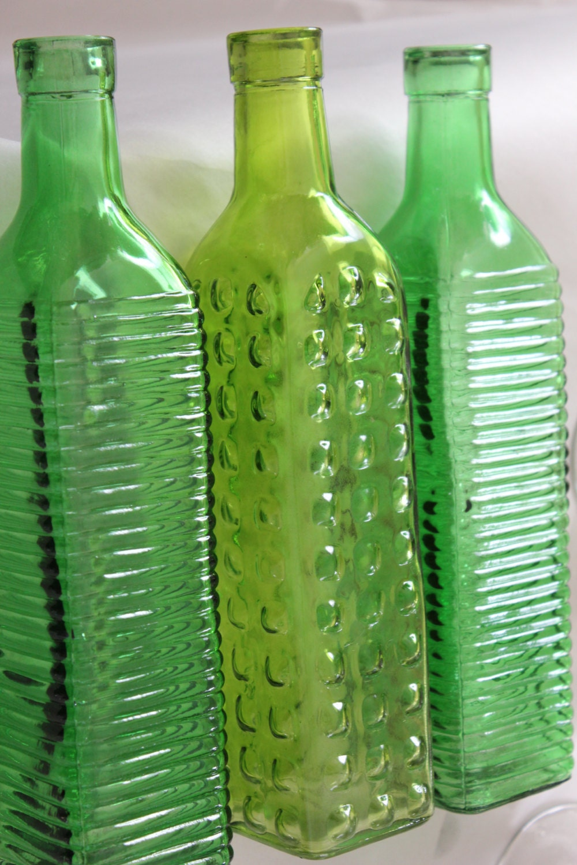 Set Of 10 Green Glass Bottles Lime Apple Colored Wedding