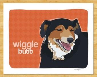 Australian Shepherd Art Print - Wiggle Butt - Tri Black Australian Shepherd Gifts Affordable Art
