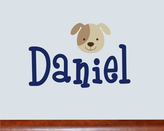 Personalized Name With doggy face, Custom Vinyl wall decals stickers, nursery, kids & teens room, removable decals stickers