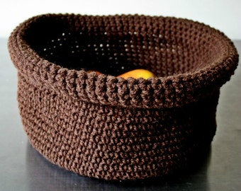 Soft brown crocheted roll-top bowl.