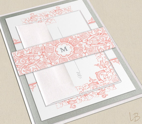 Items Similar To Intricate Floral Pink Coral Wedding Invitation SAMPLE
