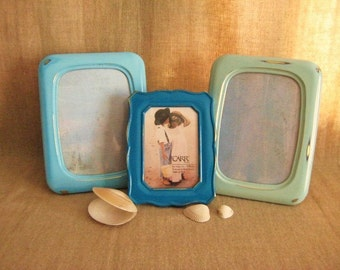 Beach Cottage Frame Collection for Wedding or Home Decor / Shabby Frames in Beach House Colors