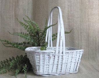 Shabby Flower Girl Basket in White / Upcycled Vintage Basket for Wedding or Home Decor