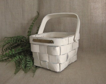 Cottage Chic Flower Girl Basket in Heirloom White / Vintage Handmade Basket with Brass Plates for Engraving
