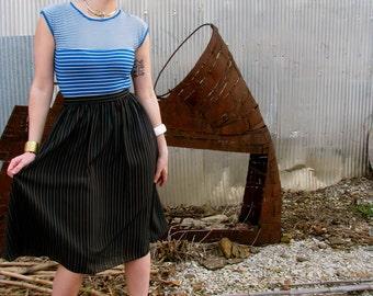 Vintage 1970s Sheer DISCO Pinstripe Black Skirt