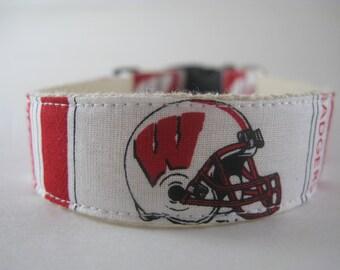 Wisconsin Badgers hemp dog collar or leash