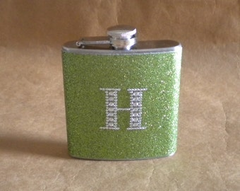 Ready to Ship Gift Lime Green Sparkly or ANY Color Sparkly 6 ounce Stainless Steel Girly Gift Flask with ANY Rhinestone Initial KR2D 6382
