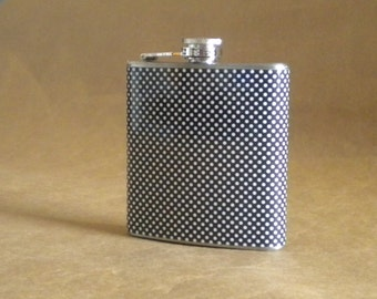 Black and White Small Dots Print 6 ounce Stainless Steel Girly Gift Flask KR2D 5680