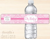 Oh Baby - Cute Pink Damask Personalized Baby Shower Waterproof Water Bottle Labels  - 84 Labels
