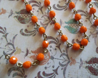 Bead Chain Rosary Chain Orange 4mm Fire Polished Glass Beads on Brass Beaded Chain - Qty 18 Inch strand