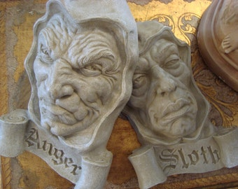 Shabby Sin Sculpture Toscano Face Busts Pair Italy