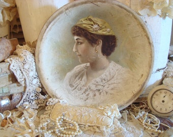 SALE Vintage German Lady Portrait Platter Shabby Cottage Chic French