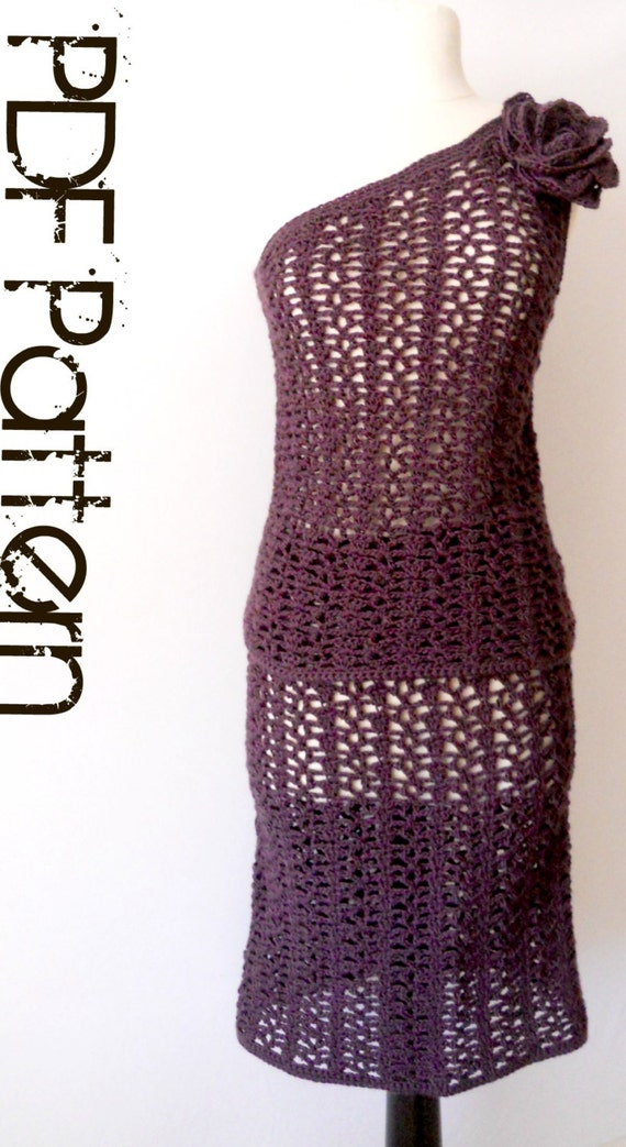 Crochet Skirt & Top Pattern-Cold Shoulder Set-Includes Plus Sizes PDF Pattern