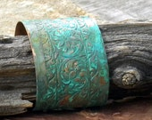 Southwestern Copper Cuff with Tooled Leather Design