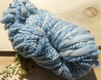 Handspun Merino Blue Yarn: Faerie Godmother V