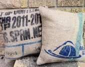 RESERVED for Elisabeth Recycled Burlap Coffee Sack Home Decor Pillows