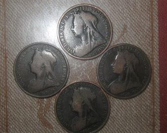 Wholesale Lot of 4 British Queen Victoria 1898-1901 Pennies