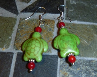 Green stone sea turtle earrings with sterling hooks