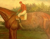 Old oil painting of horse and rider signed