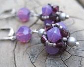Purple Earrings - Swarovski Crystal Earrings - Purple Beaded Jewelry - Plum Jewelry - Dangle Earrings - Romantic Jewelry - Bridesmaid Gift