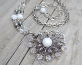 Pure White Necklace - Wedding Necklace - Crochet Wire Necklace - Silver Wire Crochet Medallion Necklace - White Crystal Necklace - Rustic