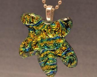 Star Bright-Dichroic Fused glass Star fish Pendant-Handmade-OOAK-SRA