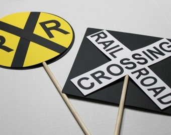 Train Birthday Party - LARGE Railroad Crossing Sign centerpieces, train party decoration