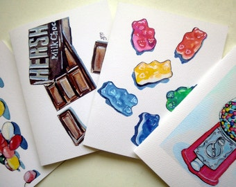 Blank Candy Card Set - Candy Watercolor Art Note Cards Ed. 1, Set of 12
