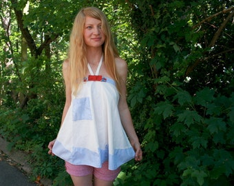 Vintage HIPPIE Upcycled vintage APRON Tank Top S M L Natural Muslin - Patriotic - Bow Tie