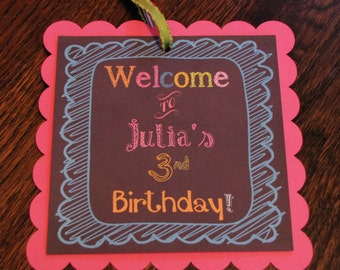 Chalkboard Doodle Collection: Square Scallop Door Sign. Party Sign. Door Sign. Welcome Sign. Birthday Sign. Chalk.