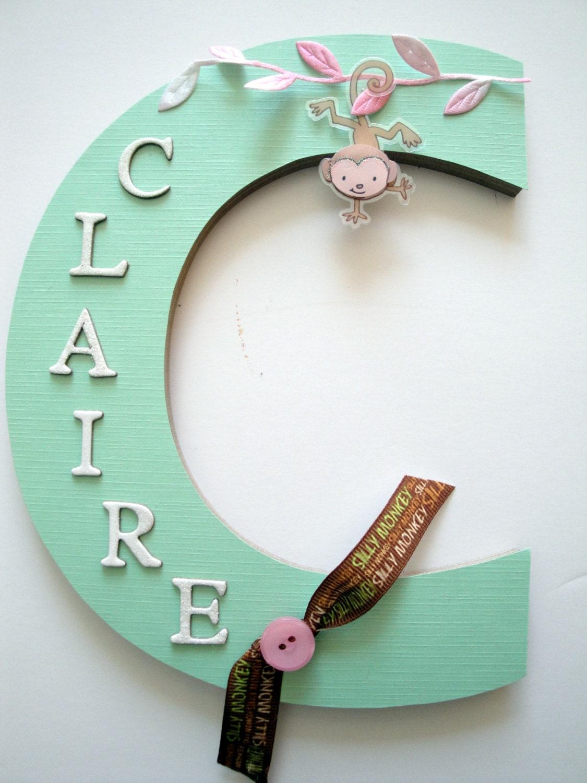 Baby Bedroom Letters: Monkey Nursery Wall Letter Girls Nursery By