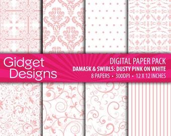 Pink Digital Paper Pack Damask Patterns Pink Scrapbook Paper Pink Stripe Pink Polka Dots