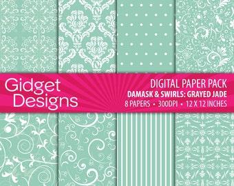 Green Digital Paper Pack Jade Damask Digital Damask Grayed Jade Spring Instant Download Printable Engagement Bridal Invite
