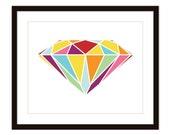 Diamond Art Print - Wall Art Modern -  Modern- Home Decor - Love - Valentines Day -Wedding - Couple - Under 20