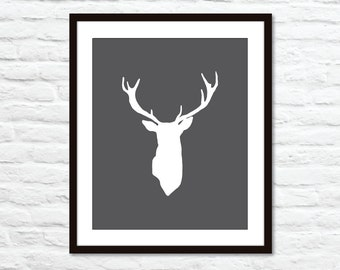 Deer Antlers Stag Digital Print Modern Home Decor Woodland Creature    Charcoal Dark Grey   Bold