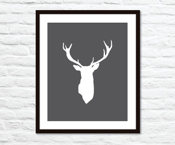 Deer Antlers Stag Digital Print Modern Home Decor Woodland Creature - Charcoal Dark Grey - Bold - Dudes - Affordable Wall Art