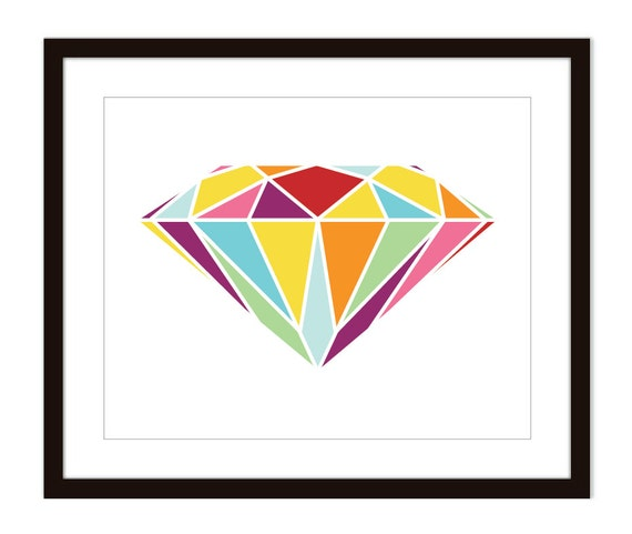 Diamond Art Print - Wall Art Modern -  Modern- Home Decor - Love - Valentines Day -Wedding - Couple - Under 20