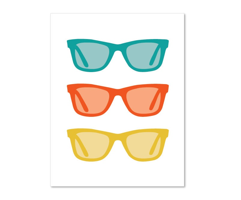Sunglasses Digital Print Bold Summer Colors Teal by AldariArt