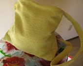 Vintage Yellow Fabric, Long Strap Tote for Lap Top, Diapers, Books, Travel, Upcycled #1306, 1306.1